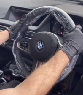 Picture of a BMW steering wheel